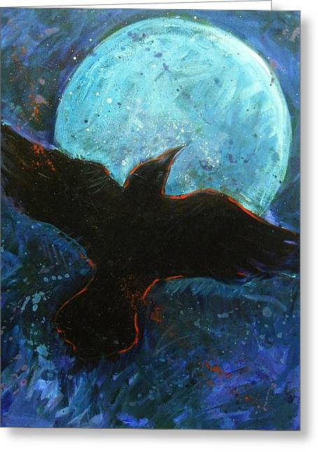 Corvus Corax Greeting Cards - Raven and Blue Moon Greeting Card by Carol Suzanne Niebuhr