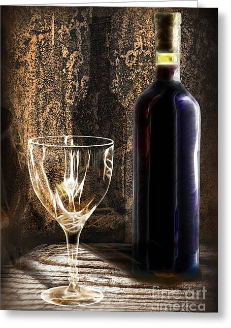Wine Pour Digital Greeting Cards - Ready To Be Served Greeting Card by Danuta Bennett