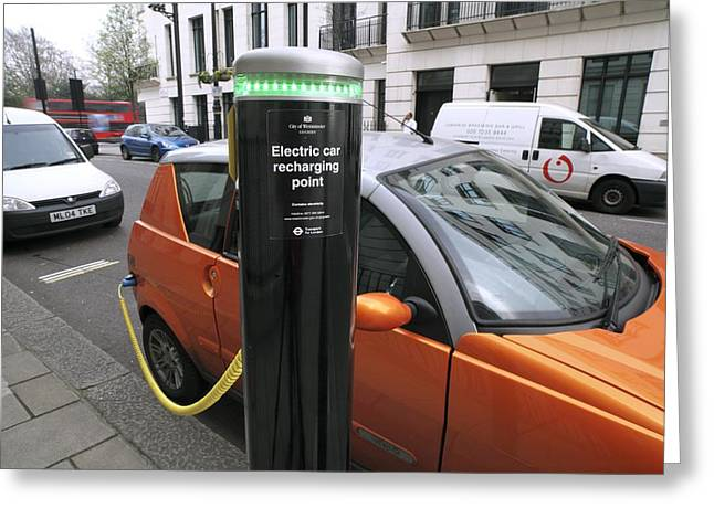 Best Sellers -  - Ev-in Greeting Cards - Recharging An Electric Car Greeting Card by Martin Bond