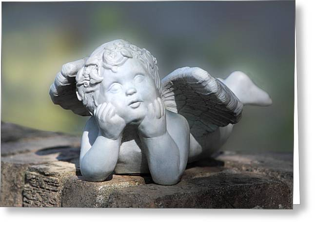 Scuplture Greeting Cards - Reclining Angel Greeting Card by Linda Phelps