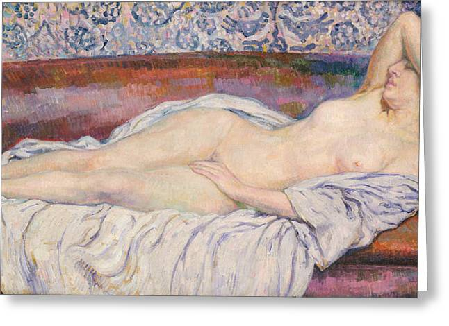 Sex Greeting Cards - Reclining Nude Greeting Card by Theo van Rysselberghe