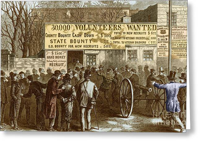Signing-up Greeting Cards - Recruitment Station New York City, 1861 Greeting Card by Photo Researchers