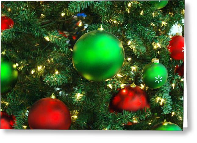 Light Framed Prints Greeting Cards - Red and Green Holiday Greeting Card by Karen Musick