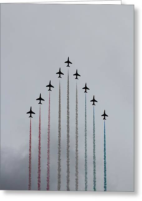 Smoke Trail Greeting Cards - Red Arrows vertical Greeting Card by Jasna Buncic