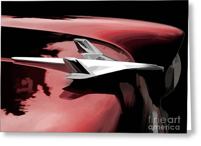 Grill Greeting Cards - Red Chevy Jet Greeting Card by Douglas Pittman