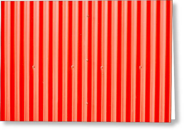 Red Roof Photographs Greeting Cards - Red corrugated metal Greeting Card by Tom Gowanlock