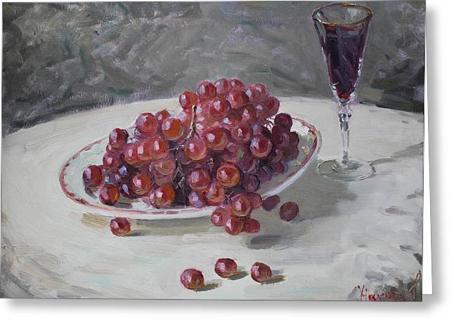 Nature Morte Greeting Cards - Red Grapes Greeting Card by Ylli Haruni