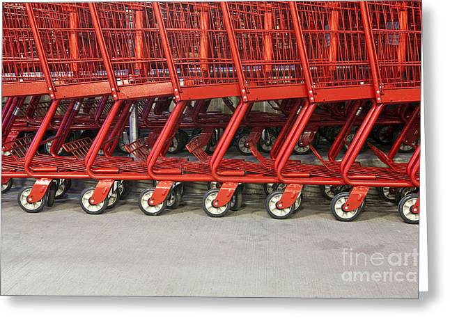 Grocery Store Greeting Cards - Red Grocery Carts Greeting Card by Paul Edmondson
