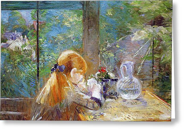 Glass Vase Paintings Greeting Cards - Red-haired girl sitting on a veranda Greeting Card by Berthe Morisot