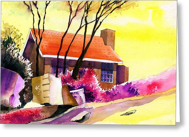 Unique View Mixed Media Greeting Cards - Red House Greeting Card by Anil Nene