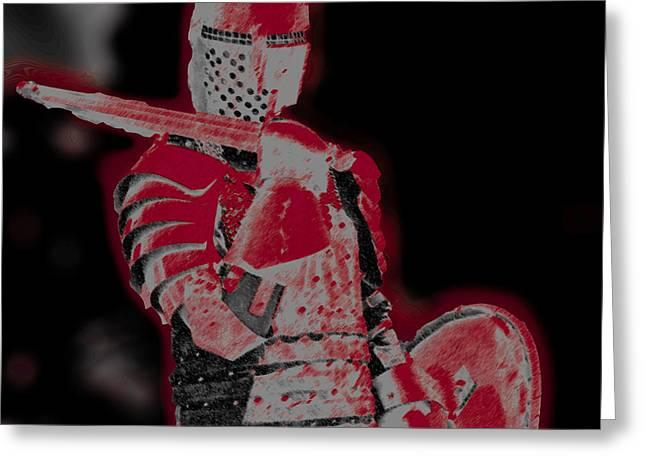 Red Knight Greeting Card by Lillian Michi Adams