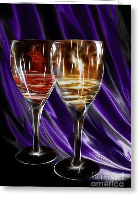 Wine Pour Digital Greeting Cards - Red Or White Greeting Card by Danuta Bennett