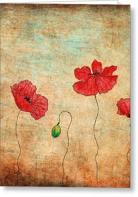 Hand Drawn Mixed Media Greeting Cards - Red Poppies On Grunge Background Greeting Card by Anna Abramska
