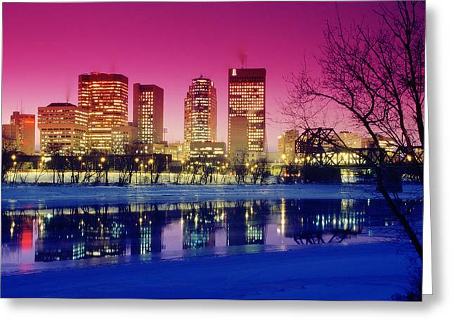 Red River And Downtown Winnipeg Greeting Card by Dave Reede