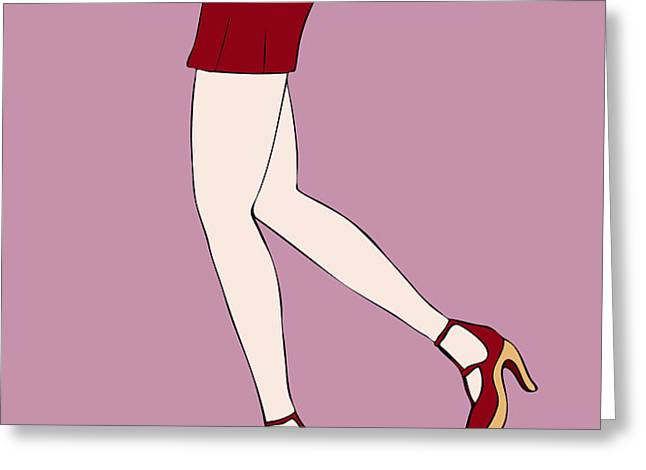 Red Shoes Greeting Card by Frank Tschakert