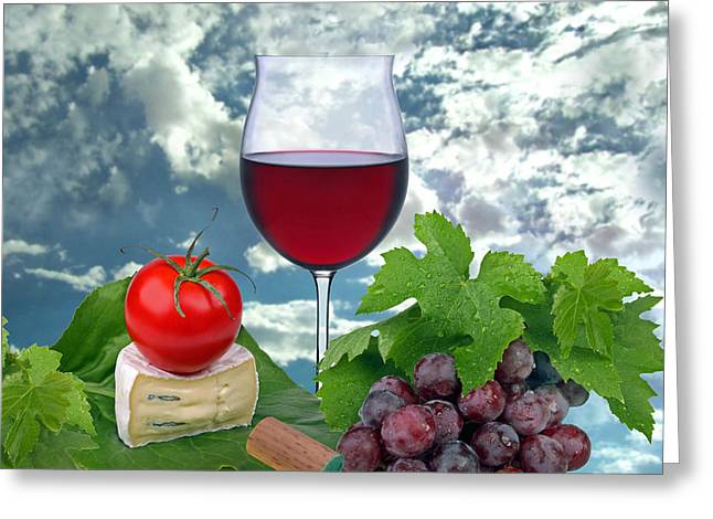 Grape Leaves Greeting Cards - Red wine Greeting Card by Manfred Lutzius