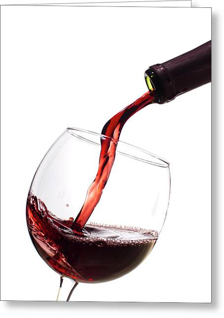 Red Wine Bottle Greeting Cards - Red Wine Poured into Wineglass Greeting Card by Dustin K Ryan