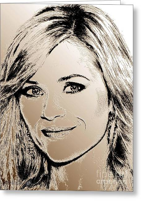 Award Mixed Media Greeting Cards - Reese Witherspoon in 2010 Greeting Card by J McCombie