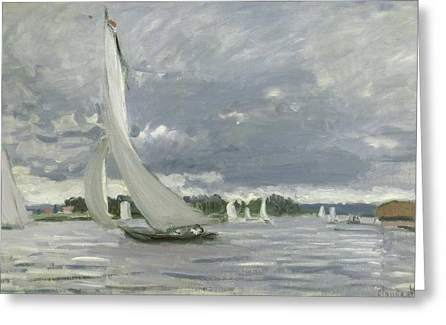 Sail Greeting Cards - Regatta at Argenteuil Greeting Card by Claude Monet