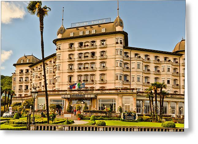 Regina Greeting Cards - Regina Palace Hotel Stresa Italy Greeting Card by Jon Berghoff