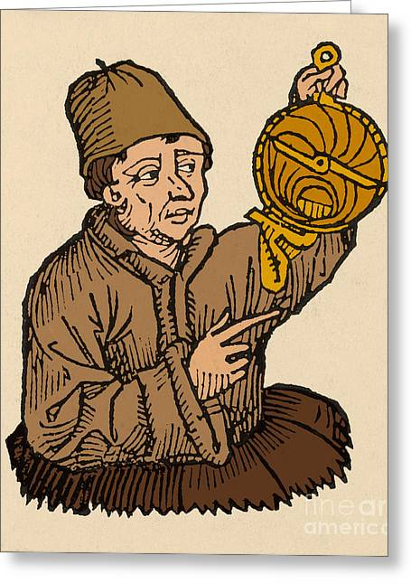 Portrait Woodblock Greeting Cards - Regiomontanus, German Mathematician Greeting Card by Science Source