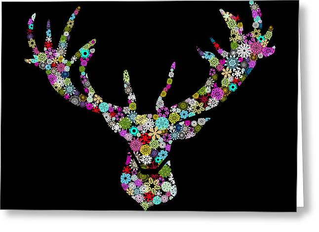 New Year Greeting Cards - Reindeer Design By Snowflakes Greeting Card by Setsiri Silapasuwanchai