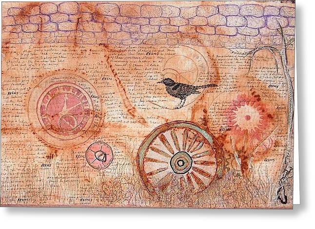 Wheels Tapestries - Textiles Greeting Cards - Relics Greeting Card by A Carole Atterbury