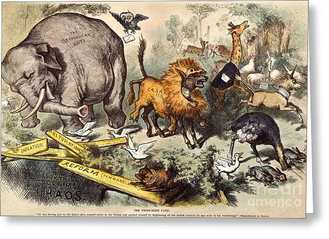 1874 Greeting Cards - Republican Elephant, 1874 Greeting Card by Granger