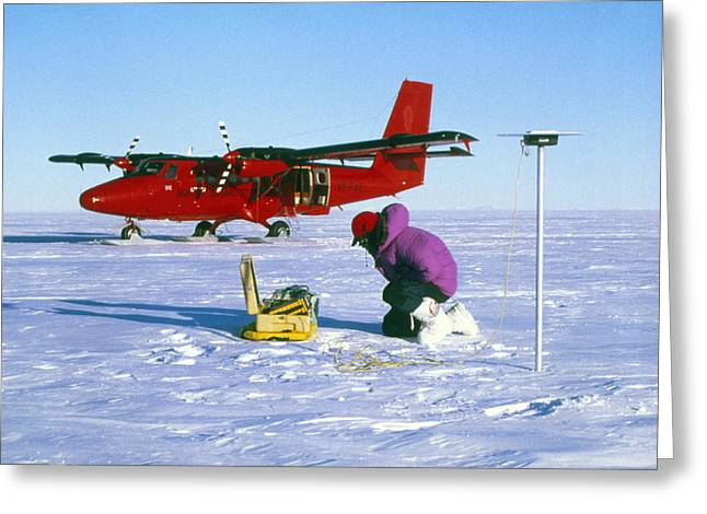 Gps Greeting Cards - Researcher Measures The Flow Rate Of A Glacier Greeting Card by David Vaughan