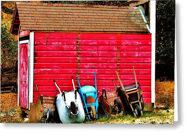 Red Roofed Barn Greeting Cards - Retired Greeting Card by Helen Carson