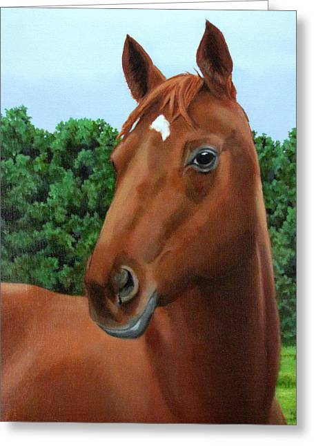 Sandra Chase Paintings Greeting Cards - Retired Racer Greeting Card by Sandra Chase