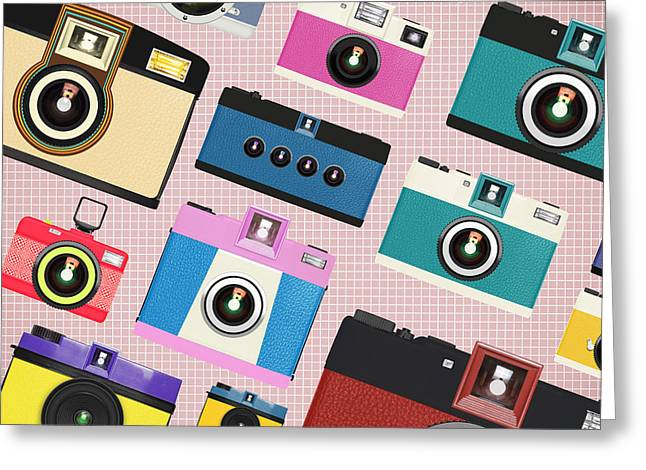 Flash Greeting Cards - Retro Camera Pattern Greeting Card by Setsiri Silapasuwanchai