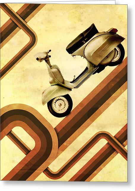 70s Greeting Cards - Retro Vespa Scooter Greeting Card by Michael Tompsett