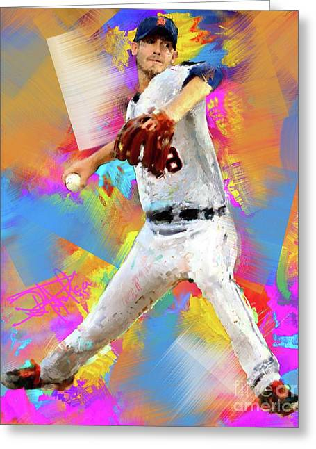 Baseball Paintings Greeting Cards - Rick Porcello Greeting Card by Donald Pavlica
