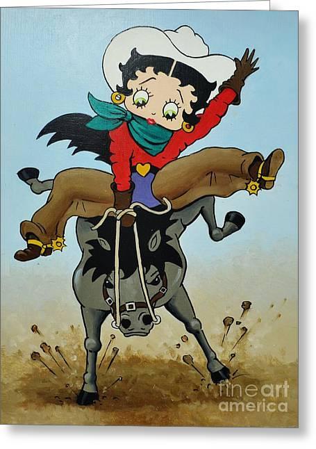 Betty Boop Greeting Cards - Ride-um Betty Greeting Card by Thomas Kolendra