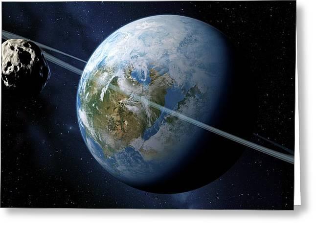Extrasolar Planet Greeting Cards - Ringed Earth-like Planet, Artwork Greeting Card by Detlev Van Ravenswaay