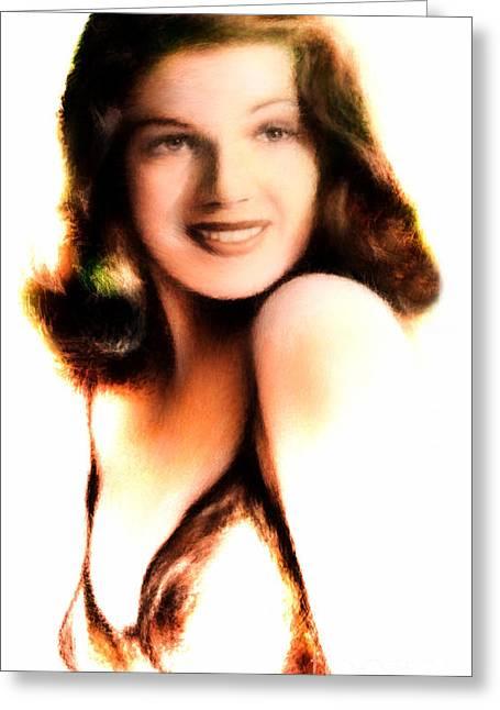 Rita Hayworth Greeting Cards - Rita Hayworth Greeting Card by Arne Hansen