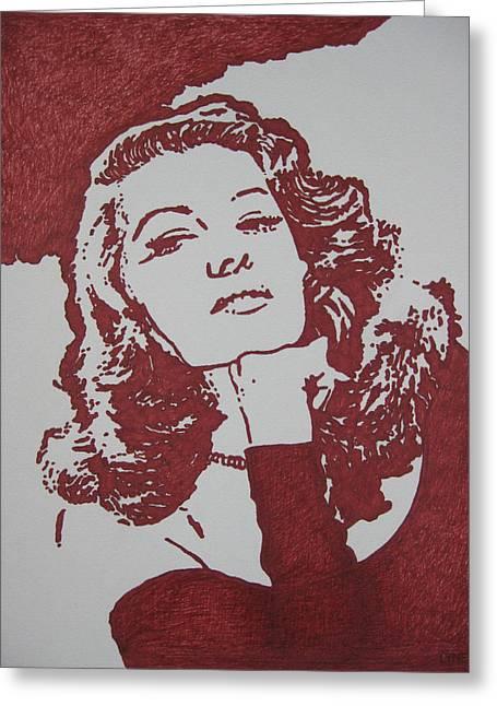 Rita Hayworth Greeting Cards - Rita Greeting Card by Lynet McDonald