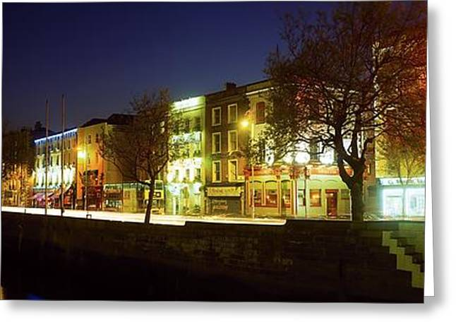 Trees Reflecting In Water Greeting Cards - River Liffey, Dublin, Co Dublin, Ireland Greeting Card by The Irish Image Collection