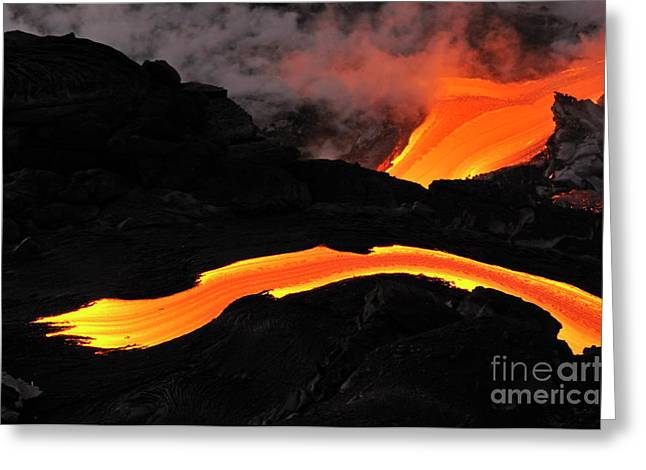 Sami Sarkis Greeting Cards - River of molten lava flowing to the sea Greeting Card by Sami Sarkis