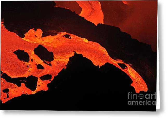 Sami Sarkis Greeting Cards - River of molten lava Greeting Card by Sami Sarkis