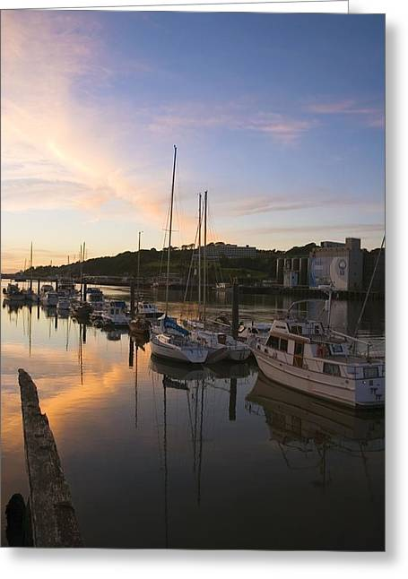Best Sellers -  - Boats In Reflecting Water Greeting Cards - River Suir, From Millenium Plaza Greeting Card by The Irish Image Collection