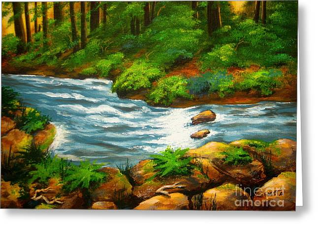 Shasta Eone Greeting Cards - RIVER  VIEW - fine art impressionist serenity landscape Greeting Card by Shasta Eone