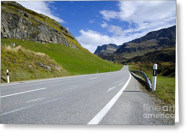 Mountain Road Greeting Cards - Road and mountain Greeting Card by Mats Silvan