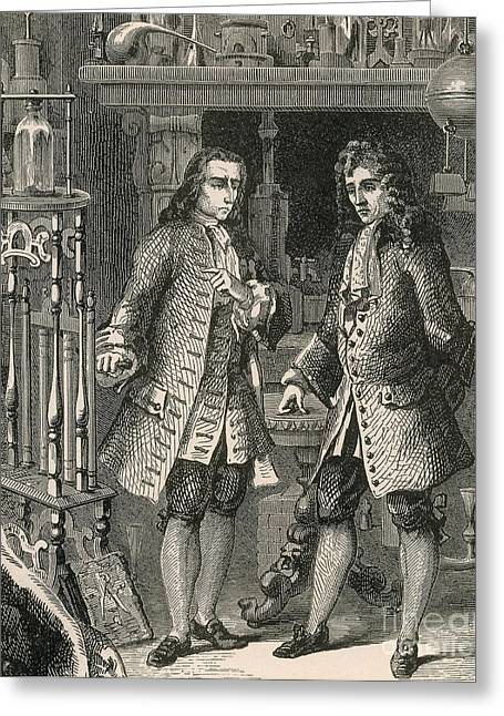 Boyle Greeting Cards - Robert Boyle And Denis Papin Greeting Card by Science Source