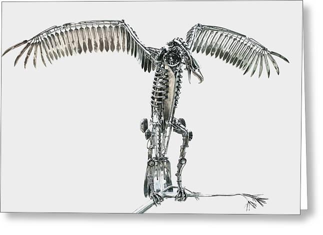 Birds Sculptures Greeting Cards - Robotic Raptor Greeting Card by Greg Coffelt