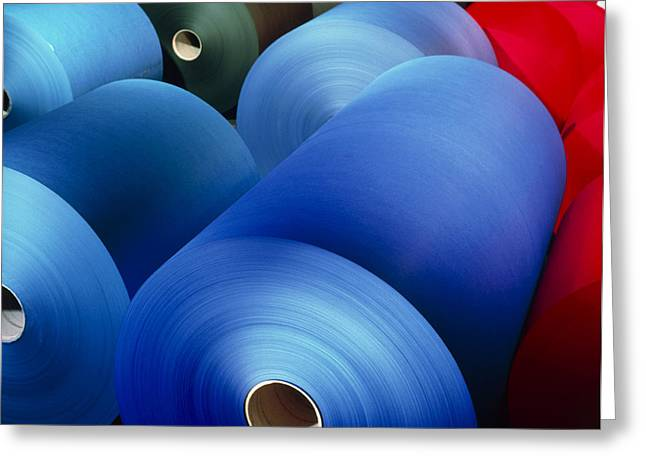 Paper Mill Greeting Cards - Rolls Of Coloured Paper At A Paper Mill Greeting Card by Colin Cuthbert