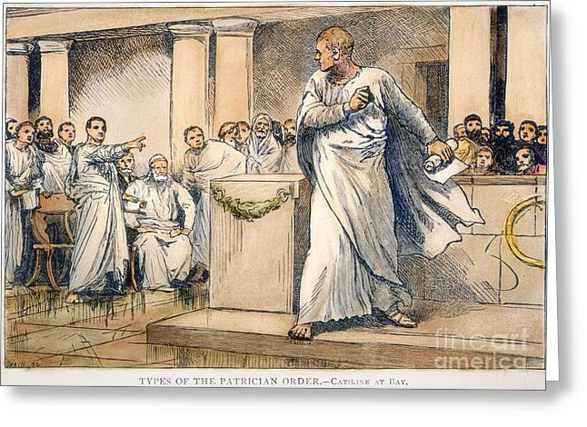 Patrician Greeting Cards - Roman Senate: Catiline Greeting Card by Granger