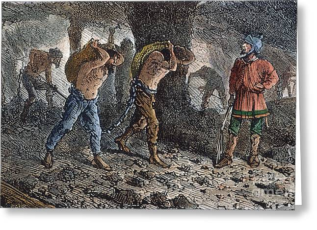 Oppression Photographs Greeting Cards - Roman Slavery: Coal Mine Greeting Card by Granger