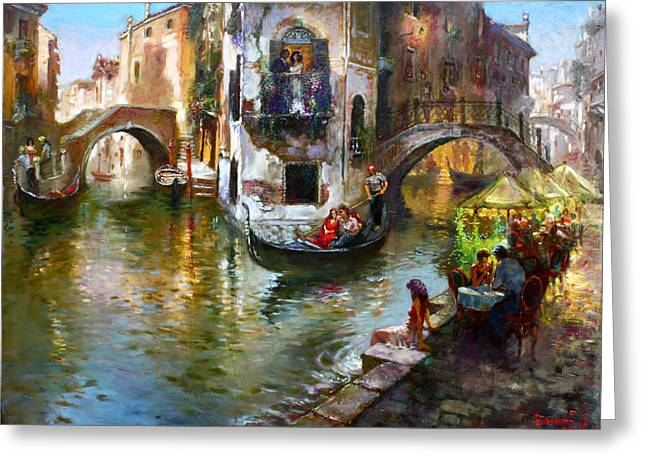 Bride And Groom Greeting Cards - Romance in Venice Greeting Card by Ylli Haruni